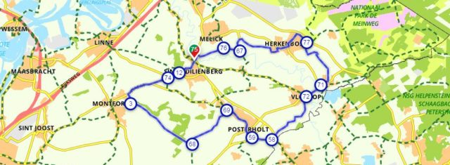 geluksroute kaart fietsen Roerdalen
